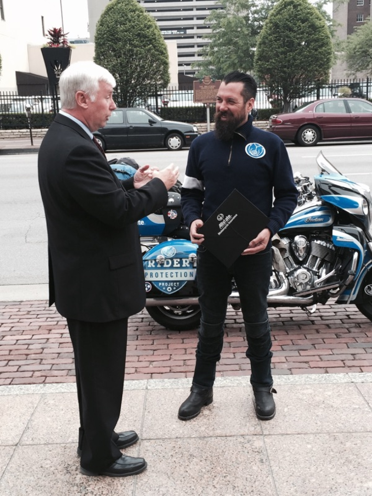 "State Rep. Al Landis Welcomes Allstate ""Ride for Awareness"" Rider Nate Hudson to the Statehouse"
