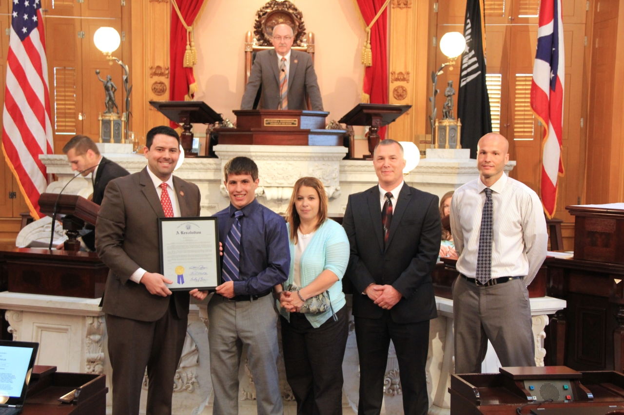 Rep. McColley Honors Seth Beard as a 2016 Division II State Wrestling Champion